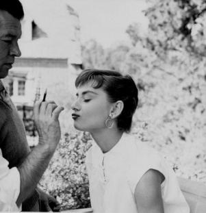 "Audrey Hepburn on the set of ""Sabrina"" 1954© 2000 Mark Shaw"
